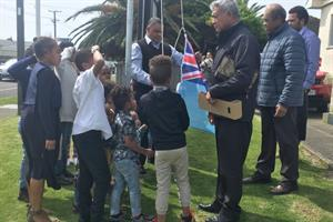 Fijian flag raised - Pasifika Community Hall