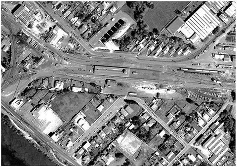 Aerial of Aramoho Railway Station and surrounds 1968